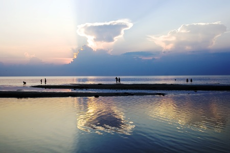 jurmala: Silhouette of people on a background the Baltic sea and sunset Stock Photo