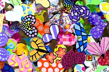 Coloured hearts as festive decoration close up photo