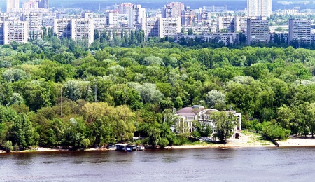 dnepr: View from the left-bank of Dnepr to modern building estate in Kyiv