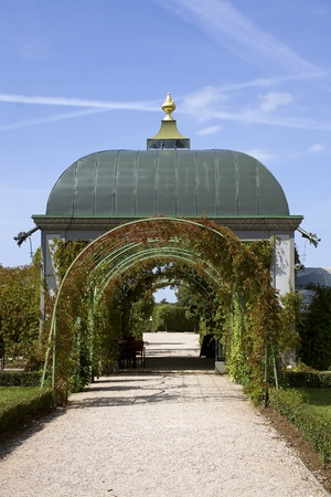 rundale: Arbour with archs in Rundale palace is one of the most outstanding monuments of Baroque and Rococo art in Latvia Garden is broken in order of Catheriny II Latvia Stock Photo