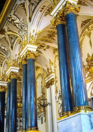 Central malachite columns at included in the Hermitage,St.Peresburg, Russia