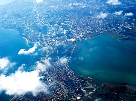 joins: View from above on Istanbul is an old city, you can see the remains of many ancient civilizations and their culture in harmony with Turkish culture. The Bosphorus is the 32 km-long strait which joins the Sea of Marmara with the Black Sea in Istanbul