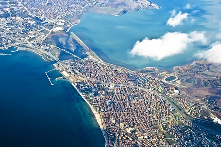 View from above on Istanbul is an old city, you can see the remains of many ancient civilizations and their culture in harmony with Turkish culture. The Bosphorus is the 32 km-long strait which joins the Sea of Marmara with the Black Sea in Istanbul photo