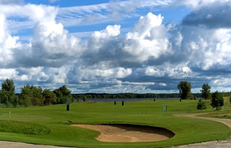 Golf club ashore lake in Riga, Latvia photo