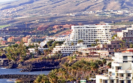 Modern hotels on Playa de Las Americas, Tenerife, Canaries islands, Spain photo