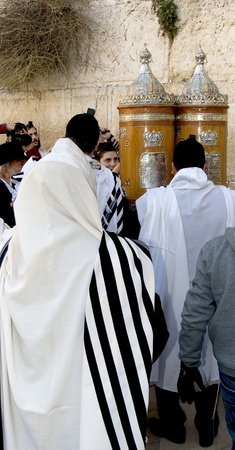 Jews prayed at the Western Wall in Jerusalem, Israel