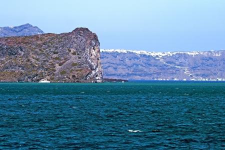 Panoramic view of Santorinis city of Fira hanging on the volcanic caldera at Santorini island in Aegean sea, Greece Stock Photo - 15368176
