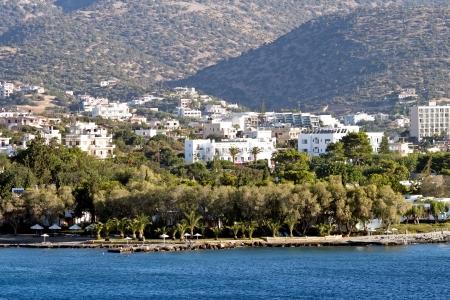 kreta: Aghios Nikolaos city at Crete island ashore Aegean sea in Greece Stock Photo