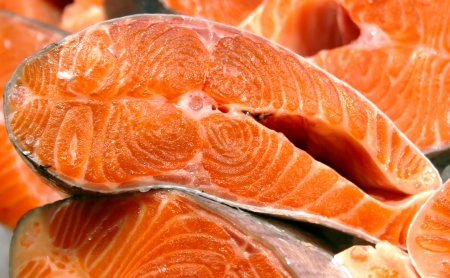 Salmon fish sliced at the fish market close-up Stock Photo - 16413362
