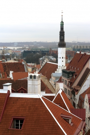 City panorama Old Town of Tallinn is the capitals of Estonia photo