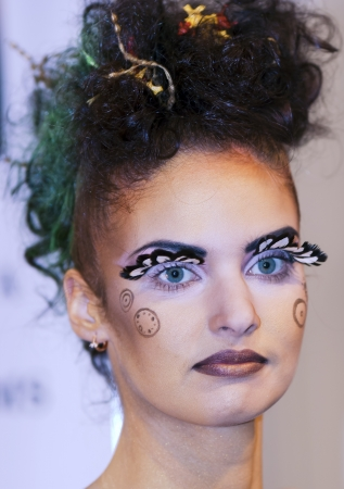 Beautiful girl with artistic make - up on an exhibition Baltic Beauti 2012, 02-04 November
