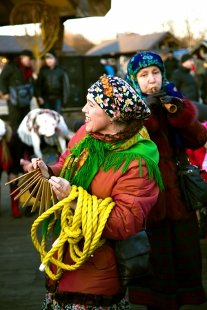 sudarium: Women in traditional clothes participate in walking on Shrovetide