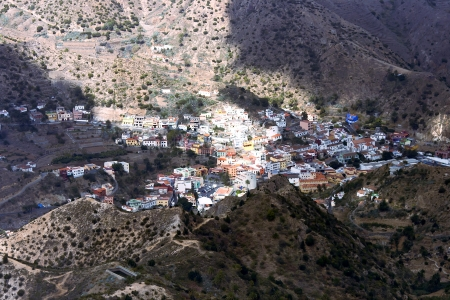 vallehermoso: Town Vallehermoso among mountains on an island La Gomera, Canary islands Stock Photo