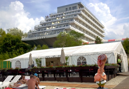 jurmala: Baltic Beach Hotel and cafe on a beach in Jurmala, Latvia Editorial