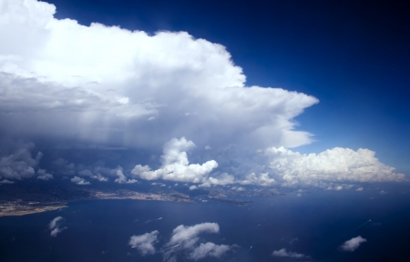 View above on stormy front covering French Riviera photo