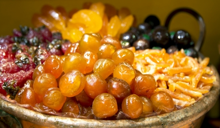 Luxurious candied fruit are in the pastry shops of Nice, France