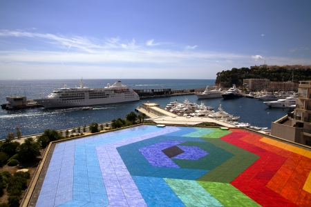 heliport:  Colourful helicopter landing in Monaco port Stock Photo