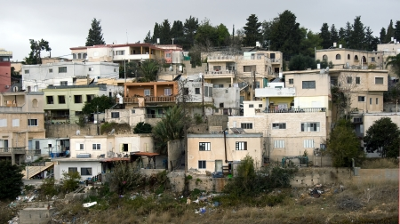 hiils: View on the dwelling Arabic quarter not far from Haifa, Israel Stock Photo