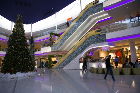 festoons: Large modern shopping center Morocco Mall in Casablanca  Big floor spaces, escalators and huge assortment of goods for all tastes  Editorial