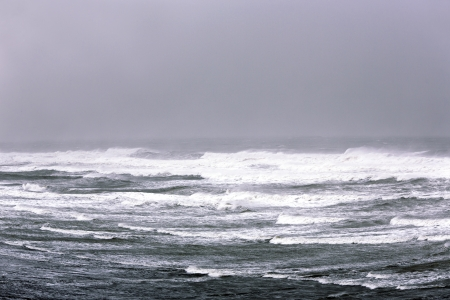 shorebreak: Powerful winter storm on Atlantic ocean in Morocco Stock Photo