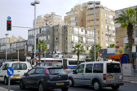 yam israel:  ISRAEL, BAT-YAM, MARCH 21  day traffic on the streets in Bat-Yam