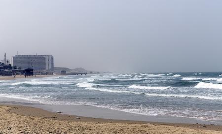 yam israel: Mediterranean coastline with view on Bat - Yam, Israel