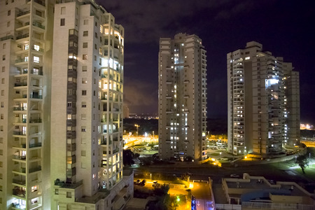 yam israel: Night view on modern high-storeyed houses in Bat-Yam, Israel