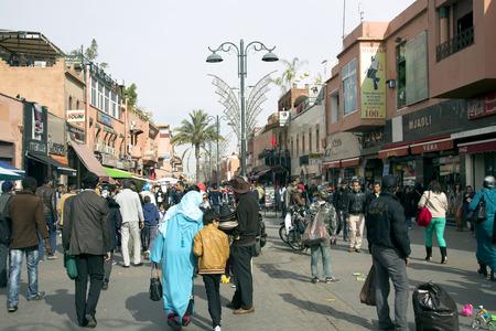 MARRAKESH, MOROCCO- DECEMBER 29, 2013  On the narrow streets of old Medina in Marrakesh, Morocco