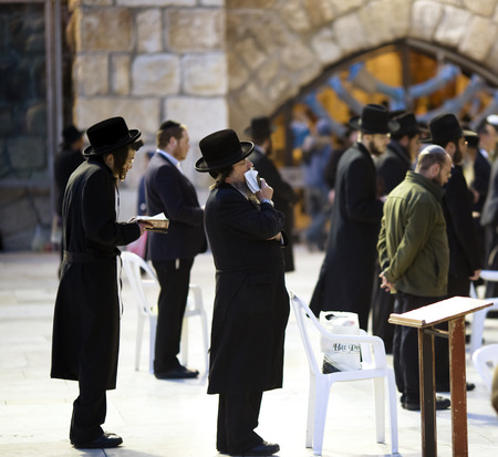 March 18th, 2014  Jews being prayed at the Western Wall in Jerusalem, Israel Stock Photo - 27801938