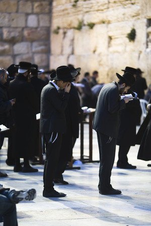March 18th, 2014  Jews being prayed at the Western Wall in Jerusalem, Israel