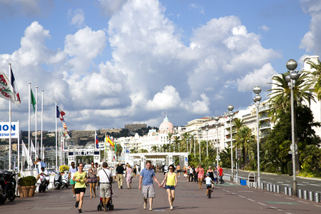d���azur: Beautiful vew on the Promenade des Anglais in Nice, France, Europe  Cote D Azur