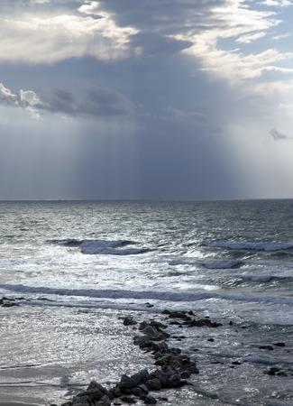 yam israel: Winter Mediterranean sea after a thunderstorm, Bat-Yam, Israel Stock Photo
