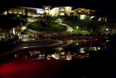 COSTA RICA,GOLFO DEL PAPAGAYO, MAY,24, 2014 - Four star Hotel Occidental Grang Papagayo with illumination at night in Costa Rica, Central America
