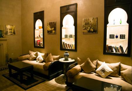 salam: MOROCCO, MARRAKESH, RIAD   SPA BAHIA SALAM,  DECEMBER, 30, 2013 - Islamic arabian indoor architecture in Riad Spa Bahia Salam, Old Medina, Marrakesh, Morocco