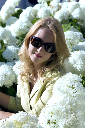 Portrait of lovely woman among a white hydrangea photo