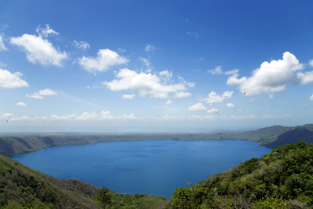 Wonderful volcanic crater lake Apoyo located between the regions of Masaya and Granada in the Pacific basin, Nicaragua  At the same time it is Nicaragua s largest Crater Lake photo