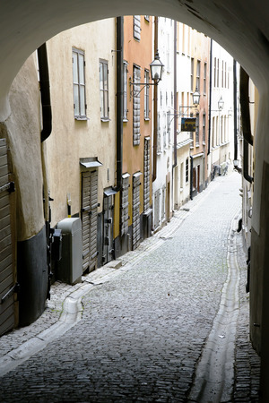 Narrow Street in Old Town (Gamla Stan) of Stockholm, Sweden photo