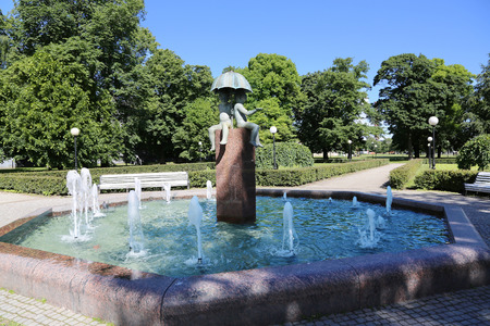 granite park: Fountain with sculptures in Vigeland park - public park located in the borough of Frogner in Oslo, Norway The park covers 80 acres and features 212 bronze and granite sculptures created by Gustav Vigeland.