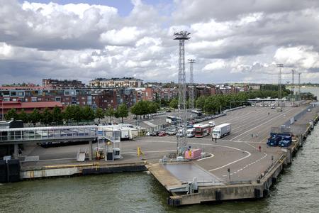 cruis: FINLAND, TURKU, JUNE, 22, 2014 - Moorage for a ferry in Grand Marina, Turku, Finland