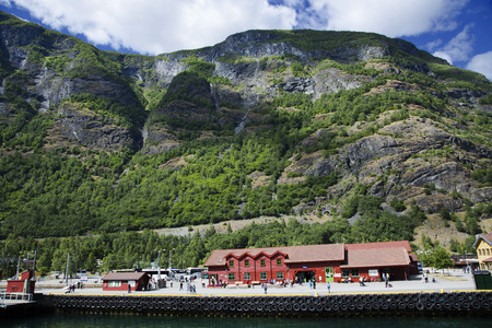 sognefjord: Sognefjord pier with shops and cafe in Flam, Norway