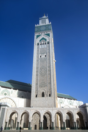 MOROCCO, CASABLANCA, DECEMBER, 27, 2013 - Tradition arabic mosaic of handwork on the wall of Hassan II Mosque in Casablanca, Morocco It is the largest mosque in the country and the 7th largest in the world