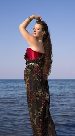 waters: Beautiful brunette in clean waters of the Baltic sea
