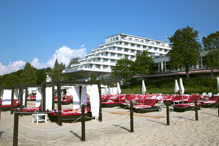 jurmala: LATVIA, JURMALA, JULY, 24, 2014 - Baltic Beach Hotel with an individual beach for clients in Jurmala, Latvia Editorial