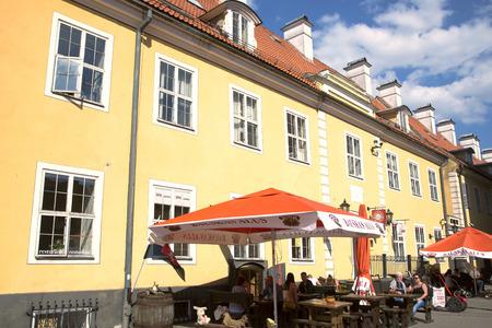 barracks: LATVIA RIGA APRIL 20 2014 Summer patio near Jacobs Barracks Jekaba kazarmas in Old Riga Latvia Europe