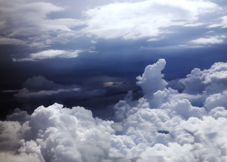 spacial: Blue sky and puffy clouds above central America Stock Photo