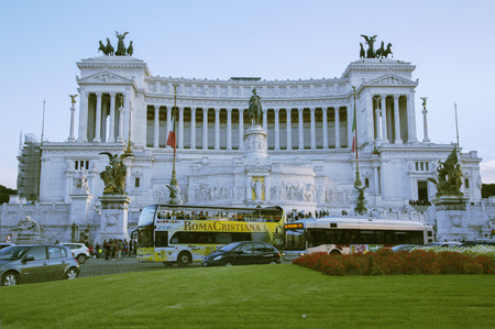 busses: ITALY ROME OCTOBER 23 2014 The Monumento Nazionale a Vittorio Emanuele II is a monument built in honour of Victor Emmanuel the first king of a unified Italy.