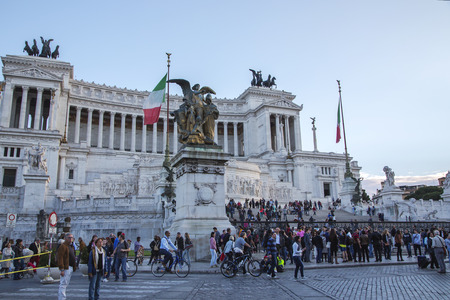 unified: ITALY ROME OCTOBER 23 2014 The Monumento Nazionale a Vittorio Emanuele II is a monument built in honour of Victor Emmanuel the first king of a unified Italy.
