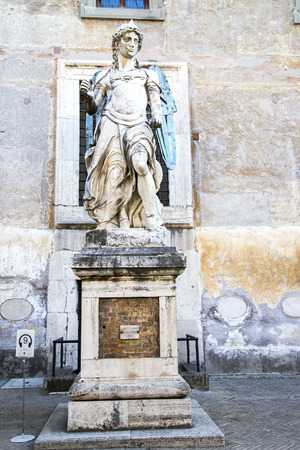 sculpted: ITALY ROME OCTOBER 23 2014 The original archangel of Saint Michael situated in the Castel Sant39Angelo the origin name is Mausoleum of Hadrian in Rome Italy. It was sculpted by Raffaello da Montelupo in 1544 year.