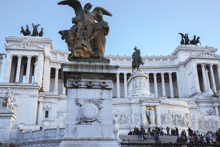 honour: ITALY, ROME, OCTOBER, 23, 2014:The Monumento Nazionale a Vittorio Emanuele II is a monument built in honour of Victor Emmanuel, the first king of a unified Italy. Editorial