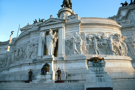 unified: ITALY, ROME, OCTOBER, 23, 2014:The Monumento Nazionale a Vittorio Emanuele II is a monument built in honour of Victor Emmanuel, the first king of a unified Italy. Editorial